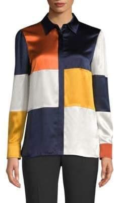 Tory Burch Reese Silk Colorblock Blouse