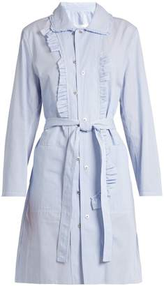 Maison Margiela Asymmetric-ruffle striped cotton-poplin dress