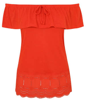 George Coral Red Crochet Bardot Top