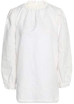 Zimmermann Broderie Anglaise Linen And Cotton-blend Blouse