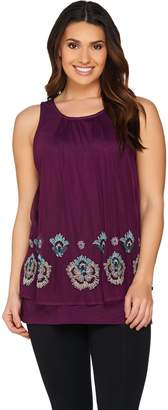 Logo By Lori Goldstein LOGO Lavish by Lori Goldstein Cotton Slub Knit Tank with Beaded Overlay