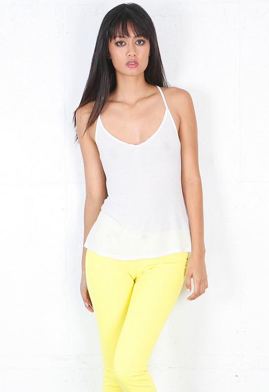 Enza Costa Ribbed Tucked Racer Tank in White