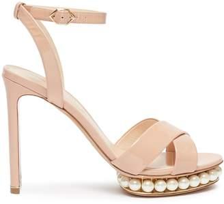 Nicholas Kirkwood 'Casati' faux pearl platform ankle strap patent leather sandals