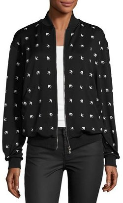 McQ Alexander McQueen Casual Swallow-Print Bomber Jacket, Darkest Black $450 thestylecure.com