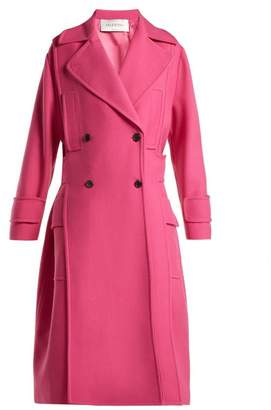 Valentino Double Breasted Wool Blend Coat - Womens - Pink