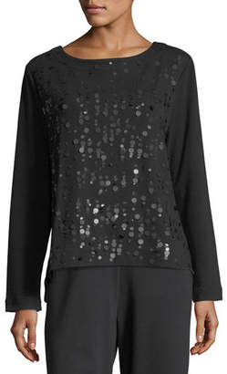 Joan Vass Luxe Cotton Interlock Sequin-Front Top, Plus Size