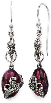 Jcpenney Fine Jewelry Marcasite And Red Stone Sterling Silver Oval Drop Earrings
