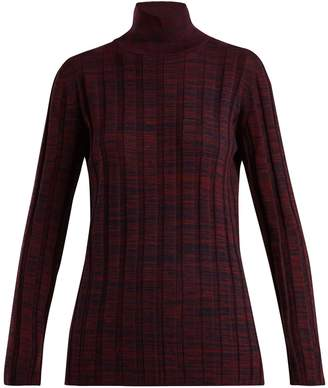 Marni High-neck ribbed melange wool sweater