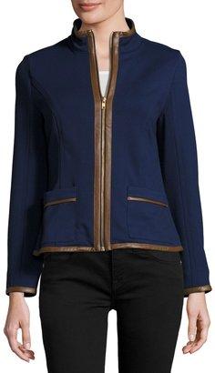 Sail to Sable Faux-Leather Trim Zip-Front Jacket, Navy $143 thestylecure.com