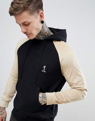 Religion Hoodie With Contrast Faux Suede Sleeve