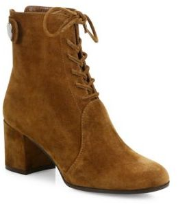 Gianvito Rossi Finlay Suede Lace-Up Block Heel Booties $1,275 thestylecure.com