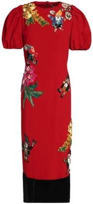 Dolce & Gabbana Velvet-Paneled Embellished Wool-Blend Midi Dress