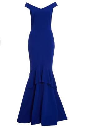 Quiz Royal Blue Bardot Fishtail Maxi Dress