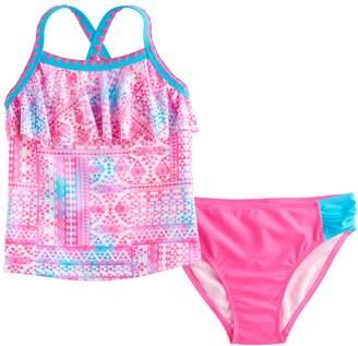 So Girls 4-6x SO Tie-Dye Tribal Print Tankini Top & Bottoms Swimsuit Set
