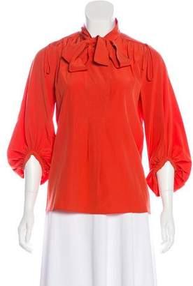 Diane von Furstenberg Bairly Louche Silk Long-Sleeve Top