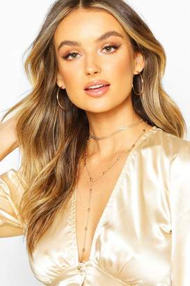 boohoo Textured Double Chain Plunge Necklace