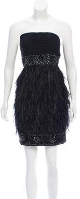 Sue Wong Embellished Feather Dress