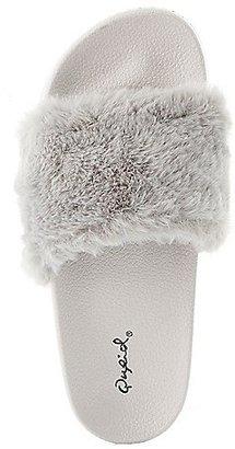 Qupid Faux Fur Slide Sandals $19.99 thestylecure.com
