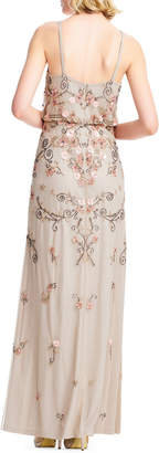 Adrianna Papell Floral Beaded Blouson A-Line Evening Gown