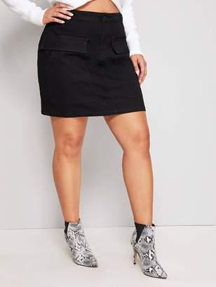 Shein Plus Pocket Patched Denim Skirt