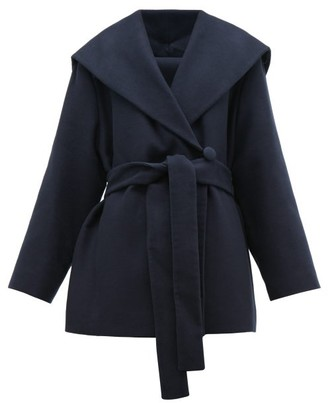 The Row Reyna Double Breasted Cotton Blend Wrap Coat - Womens - Navy