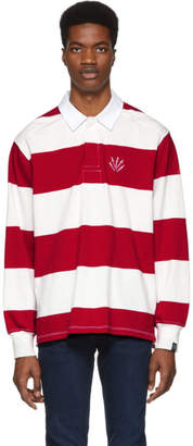 Rag & Bone Red and Off-White Striped Rugby Polo