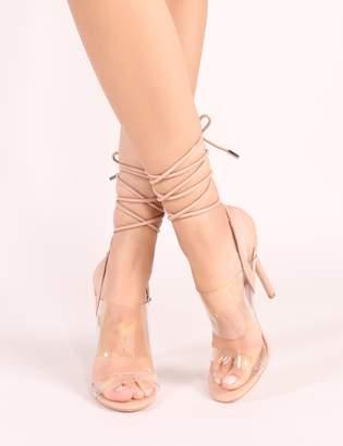 Public Desire Dreamy Lace Up Perspex Heels