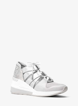 MICHAEL Michael Kors Beckett Lizard-Embossed Leather and Metallic Sneaker