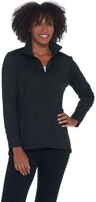 Denim & Co. Active Fleece Back Half Zip Pullover