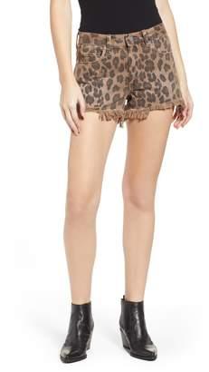 Blank NYC BLANKNYC Barrow High Waist Leopard Print Denim Shorts
