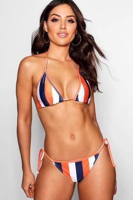 boohoo Kos Mix & Match School Stripe Triangle Bikini Top