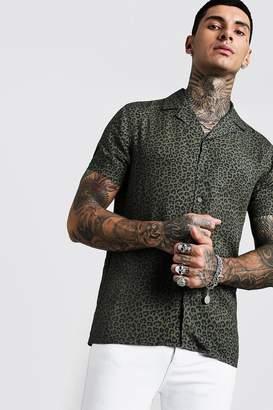 boohoo Animal Print Short Sleeve Revere Viscose Shirt