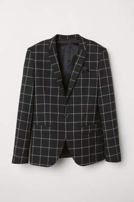 H&M Skinny Fit Checked Blazer - Black