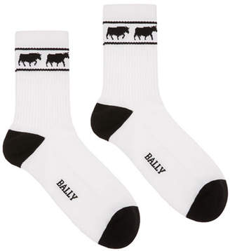Bally Men's Animals Tube Socks, White