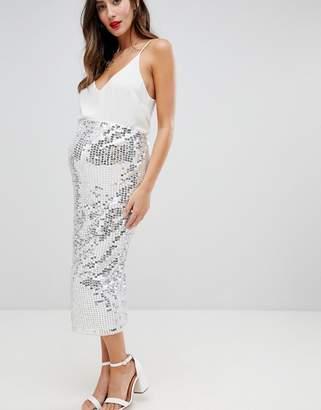 Asos DESIGN Maternity midi sequin tube skirt