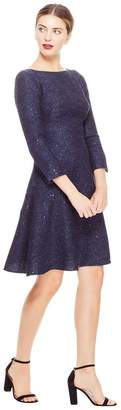 Lela Rose Sequin Embroidered Tweed Tiered Dress