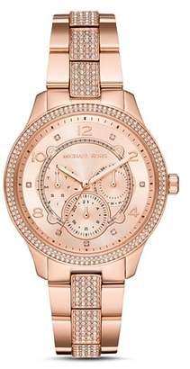 Michael Kors Runway Rose Gold-Tone Pavé Crystal Watch, 38mm
