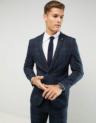 Farah Smart Skinny Suit Jacket In Check