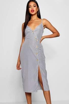 boohoo Katy Woven Stripe Button Detail Midi Shift Dress