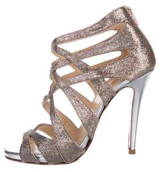 Christian Louboutin Glitter Cut-Out Sandals