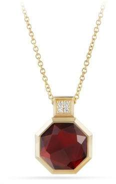 David Yurman Guilin Octagon Pendant Necklace With Garnet And Diamonds
