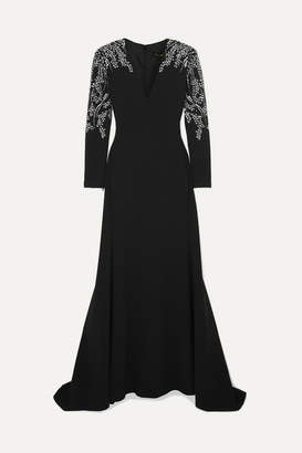 Jenny Packham Darina Crystal-embellished Crepe Gown - Black