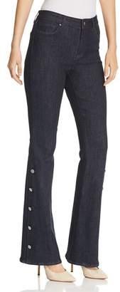 Elie Tahari Cassondra Button Flare Jeans in Indigo