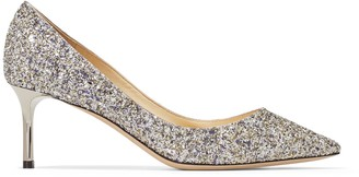 1aacb36bb352 Jimmy Choo ROMY 60 Platinum Mix Painted Coarse Glitter Fabric Pointy Toe  Pumps
