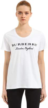 Burberry Embroidered Logo Cotton T-Shirt