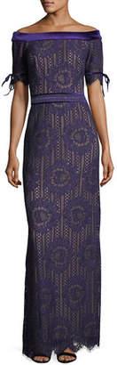 Tadashi Shoji Off-the-Shoulder Circular Lace Evening Gown