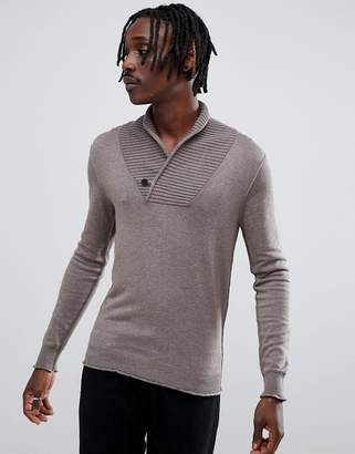 Antony Morato shawl neck sweater in beige
