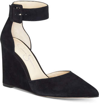 Jessica Simpson Moyra Ankle-Strap Pointed-Toe Wedge Pumps Women Shoes