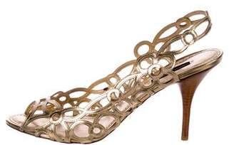 Louis Vuitton Metallic Peep-Toe Slingback
