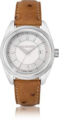 Trussardi Lady Stainlees Steel w/Ostrich Leather Strap Women's Watch